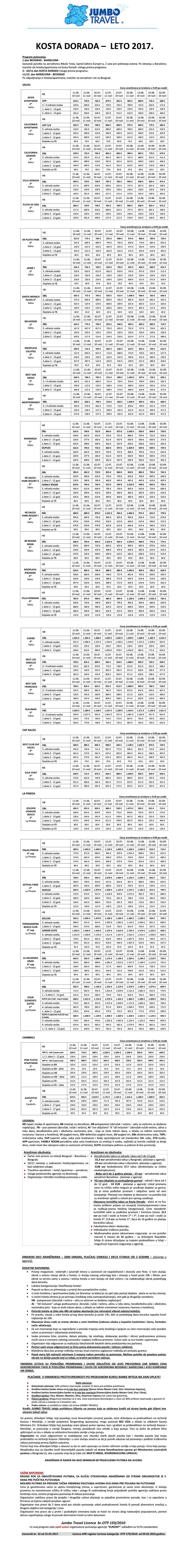KOSTA DORADA carter leto 2017 - cenovnik broj 10. vazi od 15.05.2017